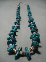 M ARVELOUS VINTAGE NAVAJO TURQUOISE NUGGET STERLING SILVER NECKLACE OLD