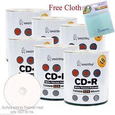600 SmartBuy CD-R 52X White Thermal Hub Printable Disc + FREE Micro Fiber Cloth