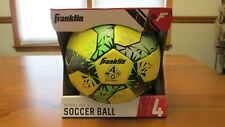 Franklin Size 4 Soccer Ball All Weather Conditions Ages 8-12 yellow green black