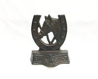 CAST IRON Horse and Horseshoe Bookends Rustic Brown Western Decor