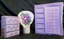 Lot Plastic Canvas Barbie Doll BEDROOM Furniture Set Wardrobe Drawers & Chair