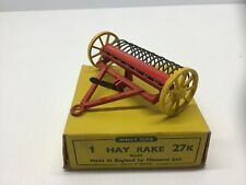 RARE VINTAGE DINKY 27k HAY RAKE MASSEY HARRIS FARMING OWNED FROM NEW,MINT BOXED