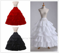 4 Hoop Wedding White/Black Petticoat Long Crinoline Underskirt Fancy Skirt Slip