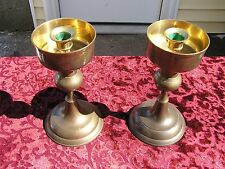 2 VINTAGE ETHAN ALLEN SOLID BRASS CANDLE HOLDERS COLUMNAR W/ WAX DRIP CUPS DECOR
