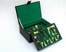 "Chess Set Storage Box with Double Tray Fixed Slots for 4"" - 4.25"" Pieces"