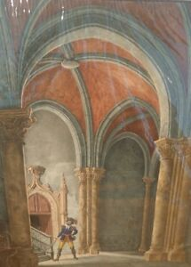 SUPERB VINTAGE WATERCOLOUR INTERIOR OF CATHEDRAL FEATURING FIGURE OF NOBLEMAN