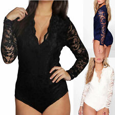 Bodysuit Plus Size Molly  Lace Top Lace Long Sleeve Leotard UK 16-24