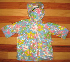 VINTAGE 1960s BABY TODDLER GIRL RAINCOAT COTTON VINYL BRIGHT FLORAL PATTERN 2T