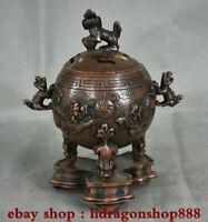 """8 """"Rare vieux chinois dynastie de cuivre Pixiu Lion bête pieds brûleurs d'encens"""