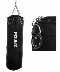 Saco de boxeo relleno de cuero sintético negro 100 x 33 cm o 120 x 33 cm