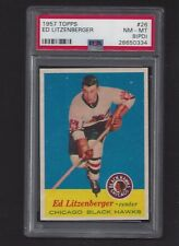 1957 Topps #26 Ed Litzenberger, PSA 8(PD) NM-MT, Vintage Black Hawks NHL 1957-58