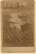 Antique Cabinet Card Photo Baby In Fancy Wicker Carriage