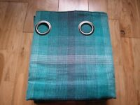 """NEXT TEAL FULTON WOVEN GRADED CHECK COUNTRY COTTAGE EYELET CURTAINS 90 X 90"""""""
