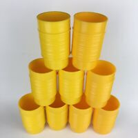"""Lot of 9 Vtg Rubbermaid Ribbed Yellow Stackable Cups 5"""" Tumblers Camping #3826"""