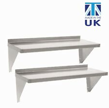 2 x Displaypro Stainless Steel Shelves Commercial Kitchen Catering Wall Shelf