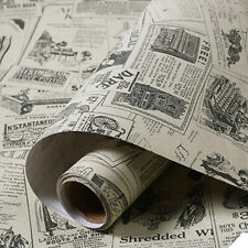 Vinyl Self Adhesive Wallpaper Roll Vintage Newspaper Wall Stickers Living Room