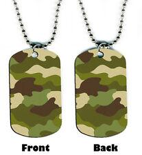 DOG TAG NECKLACE - Camoflage Camo Army hunting military 2-sided bead chain