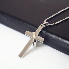 Classic Titanium Surgical Steel Cross with Ring Necklace Chain Pendant