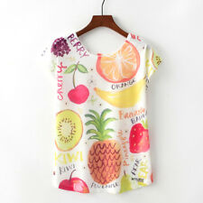 Summer Women Floral Fruits Print Batwing T-Shirts Loose Crew Tops Blouse