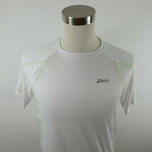Asics Mens Mesh Polyester SS Crew Neck Solid White Activewear T Shirt Medium
