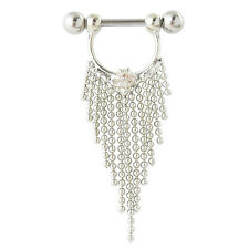 Beautiful Stainless Steel Nipple Bar With Crystals and Silver Tassels Chains 14G