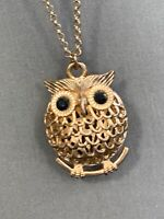 Vintage Bohemian Crystal Owl  Spirit Animal Boho Gold Tone Pendant Necklace 32""