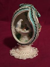 Vintage 1973 Beautifully Decorated Egg Lovebirds in Nest Artist Signed by Vern A