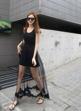 057 Korean Women's Fashion Sexy Lace Mesh Sleeveless Maxi Long Dress Black