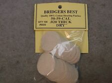 """Bridgers Best Dry Shooting Patches 50-59 Caliber .020"""" Thick Stock # 5020"""