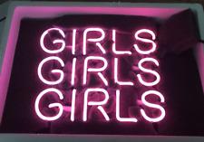 "New Girls Girls Girls Wall Decor Pink Artwork Handmade Acrylic Neon Sign 10"""