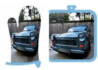 Trabant Trabi Auto Ofenhandschuh und Topflappen Germany DDR Ostalgie