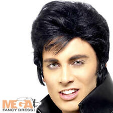 Peluca De Elvis Para hombre vestido elegante 50s Celebridad Rock N Roll Accesorio Disfraz De Adulto Nuevo