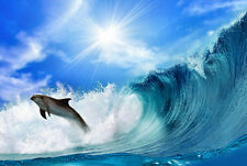 DOLPHIN PLAYING IN THE WAVES  * QUALITY CANVAS ART PRINT