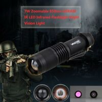 Zoomable 850nm IR LED Tactical LED Flashlight Military Torch Night Lamp