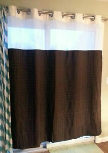 NEW Hookless Shower Curtain w/ Snap-In Liner Brown with Cream & Mesh Panel