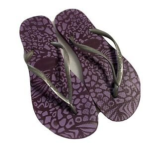 HAVAIANAS Purple Slippers Zori Flip Flops Women's US 7/8 EUR 40/41 Pre-Owned GUC