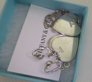 TIFFANY & CO. VINTAGE STERLING HEART DESIGN EARRINGS & MATCHING NECKLACE  OLD LO