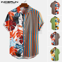 NEW Mens Vintage Floral Shirt Short Sleeve Beach Stag Party Hawaiian Tops Blouse