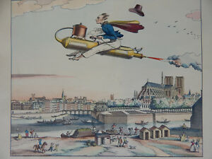 CARLE VERNET VINTAGE HAND COLORED ENGRAVED SATIRE LITHOGRAPH STEAM ENGINE
