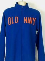 Old Navy Full Zip Fleece Jacket Spell Out Blue Orange Polyester Mens Large