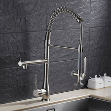 Spring Kitchen Sink Faucet Pull Down Spray Swivel Spout Mixer Tap Nickel Brushed