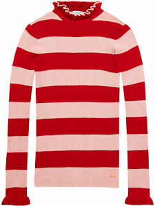 Scotch & Soda Women's 145874 Frilled Striped Turtleneck Knitted Jumper, Pink/Red