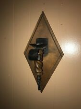 VINTAGE WOOD WALL HANGING CANDLE HOLDER