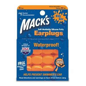 Macks Swimming Earplugs KIDS size learn to swim putty ear plug silicon #10 size