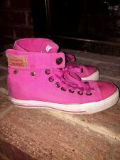 LEVI STRAUSS Jeans Womens Fuchsia HOT PINK CANVAS HIGH TOP Sneakers SHOES Sz 5 ❤