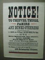 NOTICE! TO THIEVES, THUGS, FAKIRS AD PRINT VINTAGE POSTER BAR GARAGE CNG1357