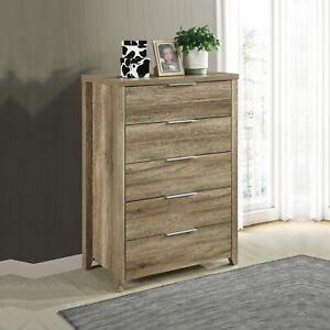 Cielo Tallboy 5 Drawers Chest Dresser Table Storage Cabinet Bedroom Oak Colour