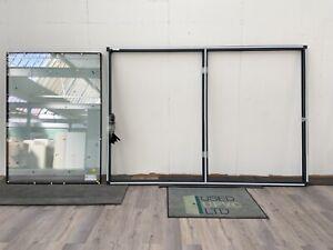 KLOEBER ALUMINIUM FIXED WINDOW-ANTHRACITE GREY-METAL-WIDE-DOUBLE PANEL-BRAND NEW