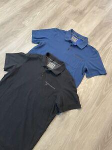 Lot Of 2 Hurley Dri-Fit Polo Shirt Mens Medium Blue Black Performance Stretch -