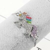 Crystal Unicorn Animal Cartoon Horse Pendant Bracelet Women Kids Jewelry Bangle